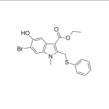 CA 131707-24-9、Arbidol 中間エチル 6-bromo-5-hydroxy-1-methyl-2-(phenylsulfanylmethyl)indole-3-carboxylate