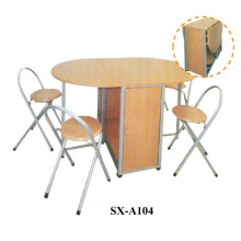 Beech Effect and Silver Butterfly Dining Set