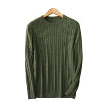 Herren Pullover Pullover reine Kaschmir stricken O-Ausschnitt langen Ärmeln einfarbig dicke Pullover