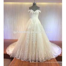 Custome Made vestido de gala Cap Sleece completo encaje Appliqued Satin Tulle mejoramiento de amor Alibaba vestido de novia MQG