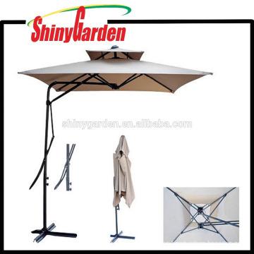 Side Polo resistente al viento cuadrado / playa / patio doble capa paraguas al por mayor