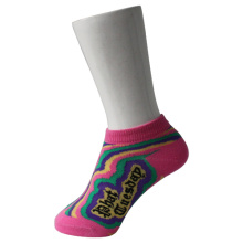 Pink Kid's Boat Socks with Rainbow Pattern