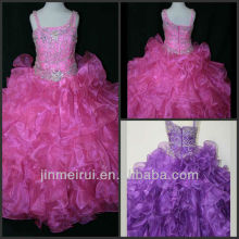 Gorgeous Floor Length Spaghetti Strap Organza Beaded Cheap Kids Pageant Dresses DF049