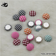 15MM Plaid Printing Round Flatback Fabric Cover Buttons DIY Jewelry Accessories for Clothing