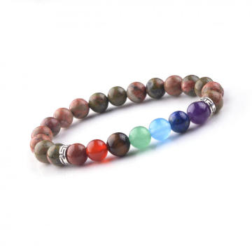 Fashionable Bangle 8MM Beads Picture Chakra Gemstone Rainbow Bracelet
