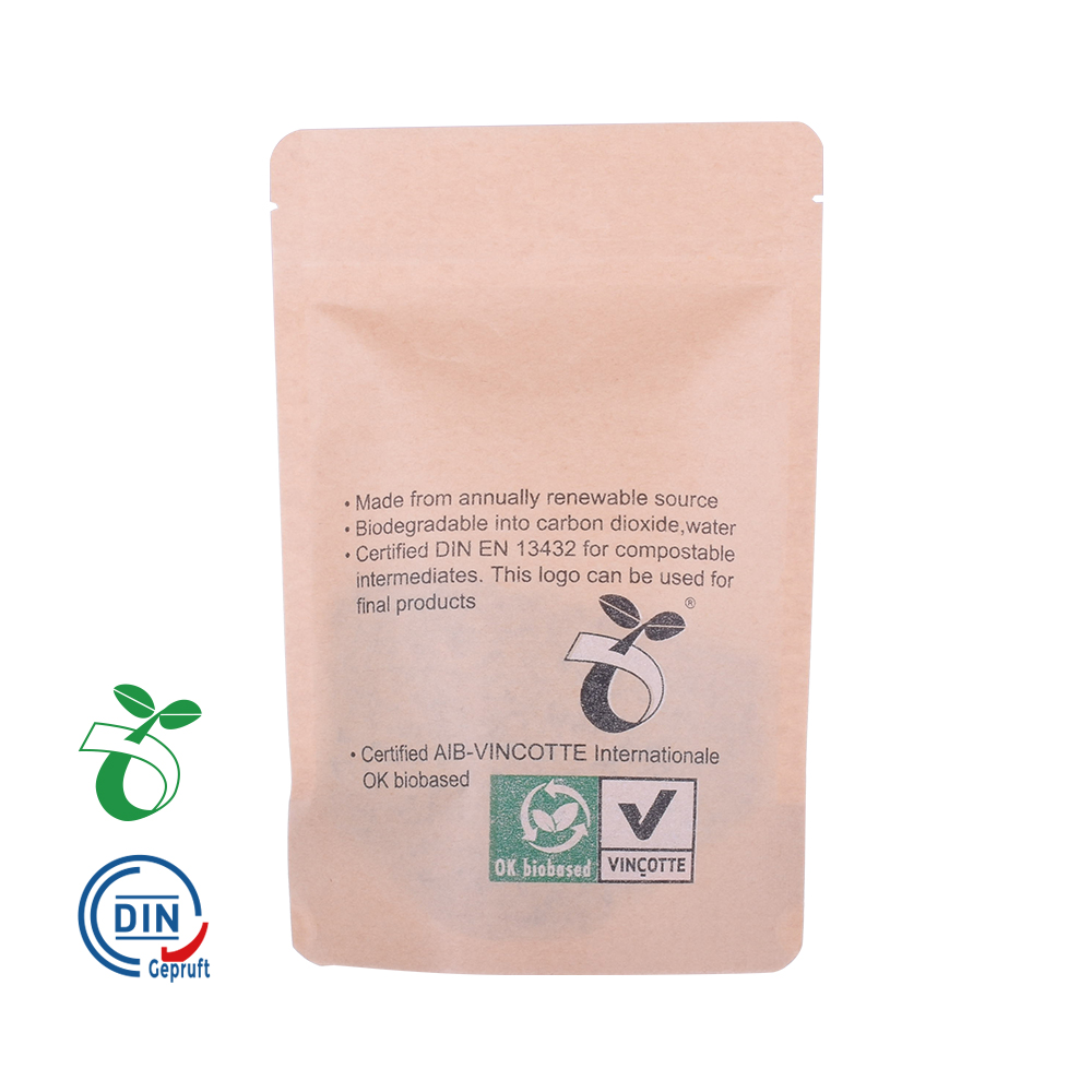 Embalaje biodegradable de pie zipplock Kraft bolsas de papel
