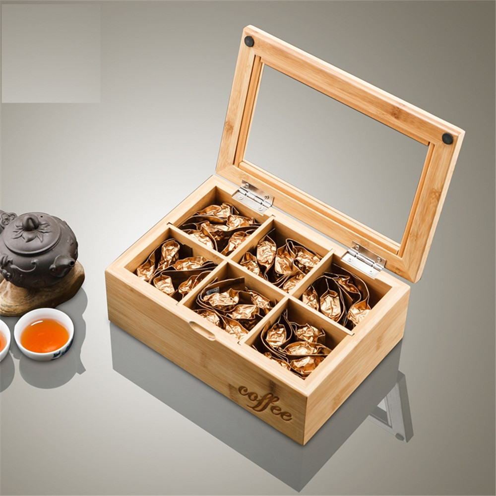 banboo natural wooden box tea