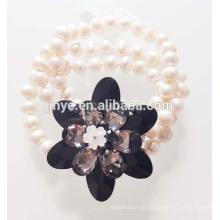 Moda grande flor de cristal preto pérola pulseira declaração pulseira