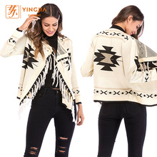Geometric Print Overcoat Tassels Trim Ladies Knit Cardigan
