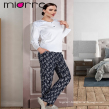 MIORRE OEM WOMEN'S NEW 2017 COLLECTION LONG SLEEVEE COTTON ELEGANT BUTTON DETAILED TOP & FLORAL PATTERNED SLEEPWEAR PAJAMAS SET