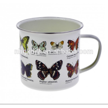 Logo Druck benutzerdefinierte Emaille Schmetterling Becher Lebensmittel Safty aber keine Spülmaschine