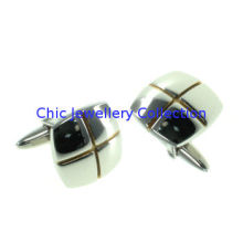 Silver Finish Stainless Steel Cufflinks Wire Cutting For Man