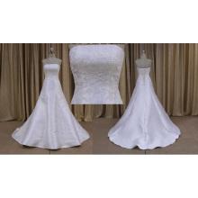 Atacadista cintura natural strapless vestido de noiva curto floral