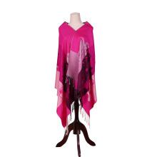 Écharpe en coton de 170 * 68cm Pashmina rose lumineuse pour dame