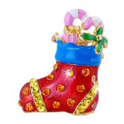 Las mujeres Navidad Regalo moda broche de la aleación oro esmalte cristal calcetin de Navidad broche de joyería para las mujeres y los hombres
