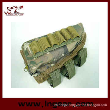 Tactical Airsoft Shotgun Rifle Ammo Pouch, Cheek Pad Gun Bag Woodland Camo