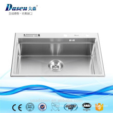 Stainless steel bench top handmade kitchen sink with mixer tap and drainer