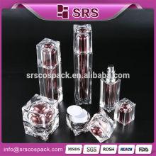 2015 Fashion Cosmetic Containers Lotion Pump Bouteille Unique Transparent Luxe Beauté Clear Square Shape 50ml Dispenser