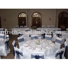 100% poliéster cadeira cobre, capa de cadeira Hotel/banquete, faixa de organza cadeira