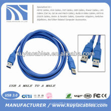 HIGH SPEED Blue AM TO AM Male to Male 3.0 USB Data CABLE 1.8m 6ft