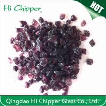 Lanscaping Vidrio de arena machacada púrpura oscuro Vidrio Chips Vidrio Decorativo