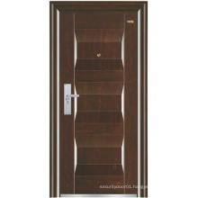 Walnut Colour Panel Steel Security Door