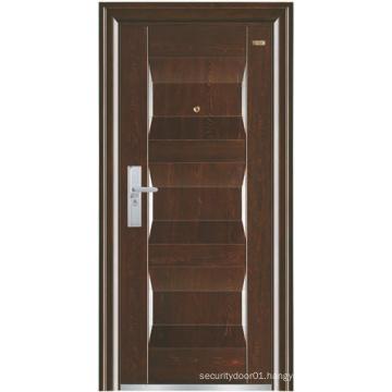 Walnut Colour Panel Steel Security Door