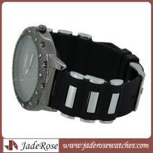 Metal ligado vermelho silicone banda moda relógio de genebra