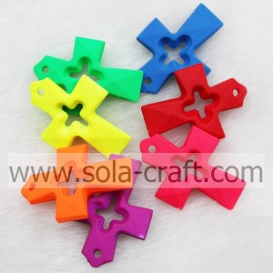 Mix Colors Hollow Heart Rubberized Cross Imitation Beads for Accessories of Necklace