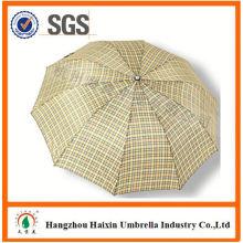 Professional OEM Fabrik liefern Qualität Herren Regenschirm mit krummen Griff Falten