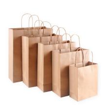 Acceptez le sac en papier kraft imprimé personnalisé avec poignée Sac à provisions en papier de marque recyclable