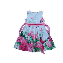 La manera 100% del vestido de la muchacha de flor del algodón embroma la ropa (SQD-101- Fuschia)