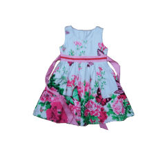 100%Cotton Flower Girl Dress Fashion Kids Clothes (SQD-101- Fuschia)