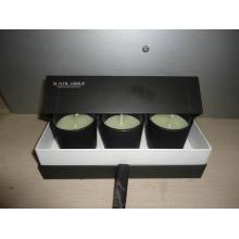 Presente de promoção Scented Black Glass Jar Candle Set