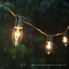 Cordas à prova de intempéries C9 da luz dos bulbos incandescentes do Natal