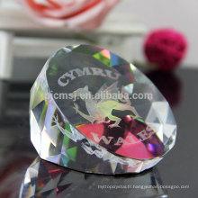 Vente chaude animaux cadeaux 3d gravé cristal presse-papiers