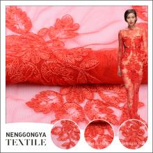 Projeto extravagante tule tecido de renda elástica vermelha para o vestido de decoração de casamento