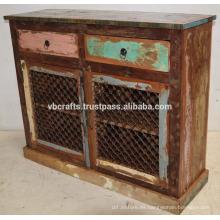 Reciclado de chatarra de color de madera de hierro Jali panel aparador
