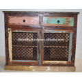 Recycled Scrap Color Wood Iron Jali Panel Sideboard