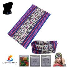 LSB-033 Ningbo Lingshang 100% poliéster cuello tubo multifuncional personalizó pañuelo sin fisuras