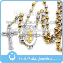 Colgantes cruzados al vacío de Virgen María y Jesús, de acero inoxidable, hechos a mano, con un collar de cuentas de rosario de 4 mm.