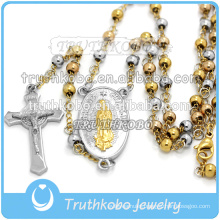 Vacuum plated Virgin mary and Jesus cross pendants stainless steel religious handmade with 4mm rosary beads necklace