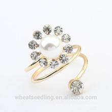 Jóia da flor conjunto pérola anel de noivado