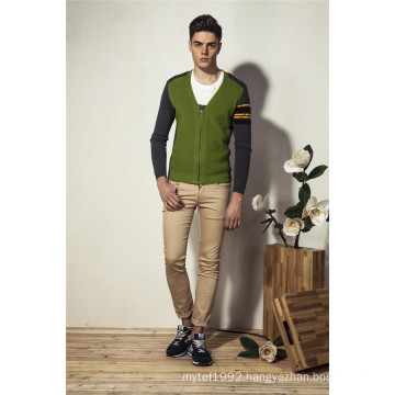 V-Neck Assorted Colors Knit Men Cardigan with Zip