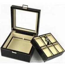 Boîte de montre en cuir à 6 fentes avec couvercle en verre