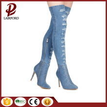 women denim fcbric over knee long boots