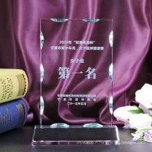 Trophée de récompense en verre de cristal de Novel personnalisé pour le cadeau de souvenir d'affaires