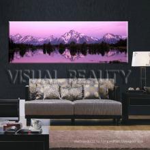 Пейзаж закат холст печать / снег горы холст печать / Панорамный холст стены искусства