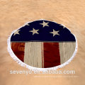 Rustic American Flag Design Round Beach Towel Tassels BT-411 China Supplier