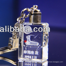 New arrival 3d laser led crystal keychain for constellation
